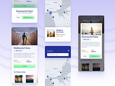 🏄♀️ Surf Camps Mobile App • Find your Surf Camp app designer surf camps surfer surfing app design mobile app design dailyuichallenge dailyui daily 100 challenge ui designer ui design uiux