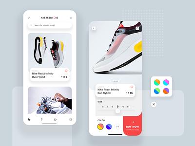 Sneaker Love shoes app app mobile minimal ios clean ux ui