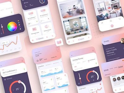 Smart Home ui kit cards mobile app minimal ios clean ux ui