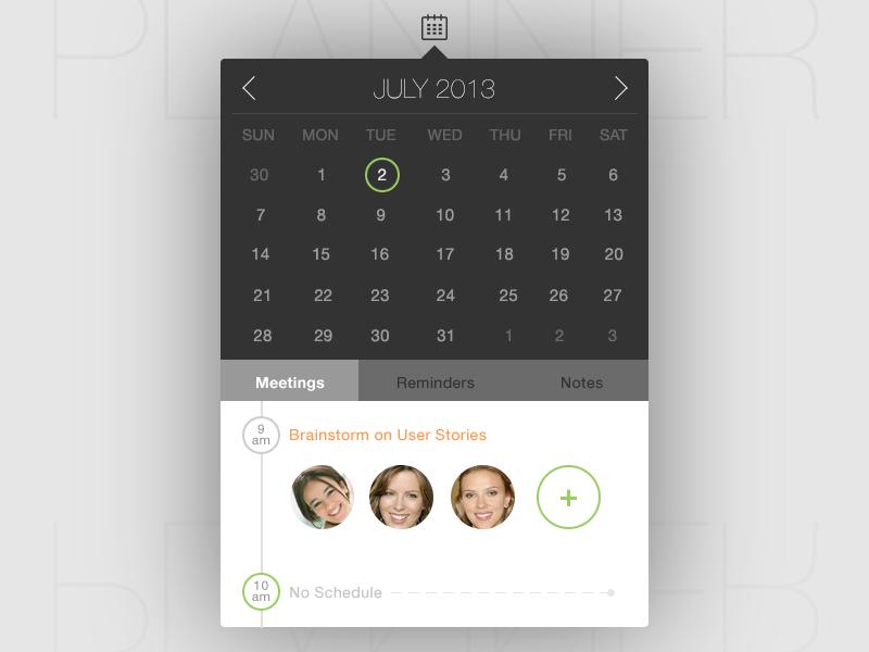 Planner! calendar meeting timeline month avatar add reminder notes ux ui design nashatwork