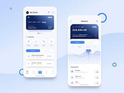 Finance App cards app ios minimal clean ux ui