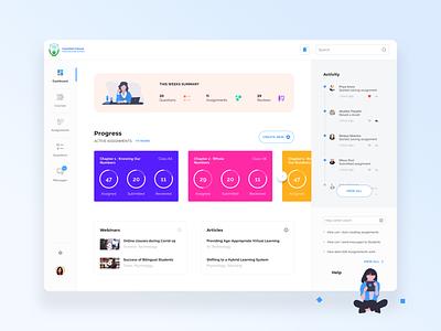 Education Dashboard education design web cards minimal clean ux ui
