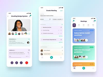 Meeting App cards app ios minimal clean ux ui