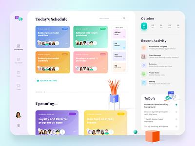 Dashboard Meeting schedule meeting app cards minimal clean ux ui