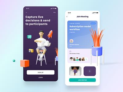 Meeting App 2 cards ios minimal clean ux ui