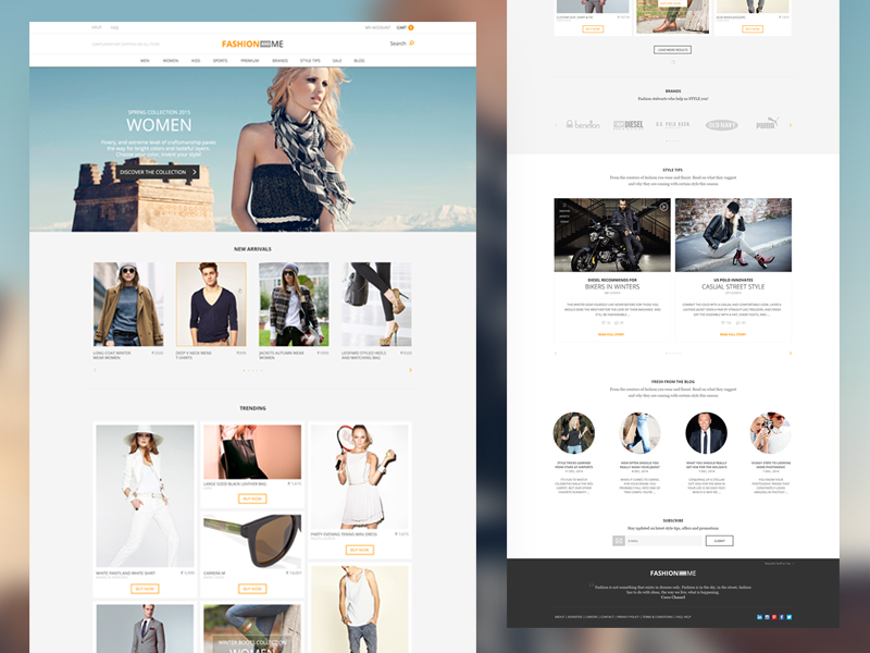 E-Commerce Home ecommerce fashion home subscribe blog ux ui template responsive nashatwork