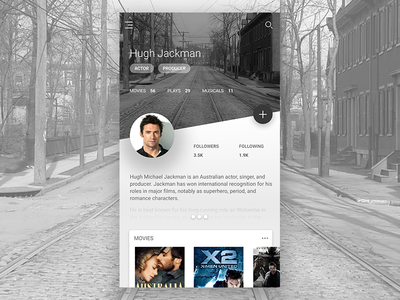 Material Profile ui kit cards android material actor profile