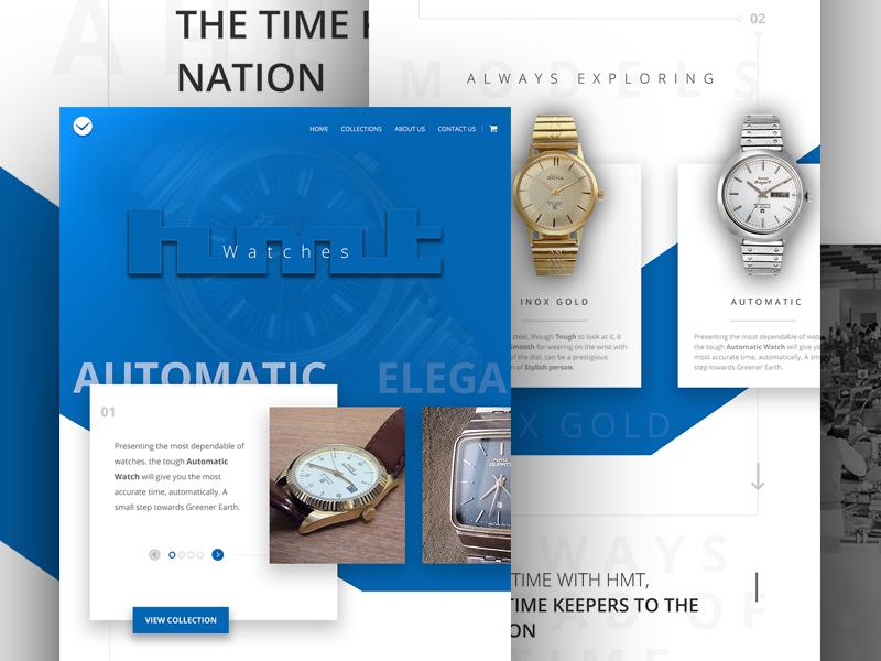 HMT Home legacy watches ui ux responsive web design landing page