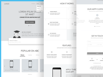 Home Page - Wireframe layout user stories clean responsive web ui ux