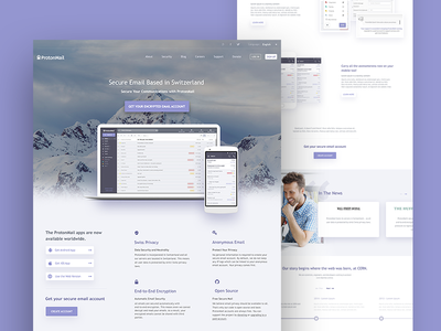 ProtonMail - Home interface private mail clean responsive web design landing ui ux