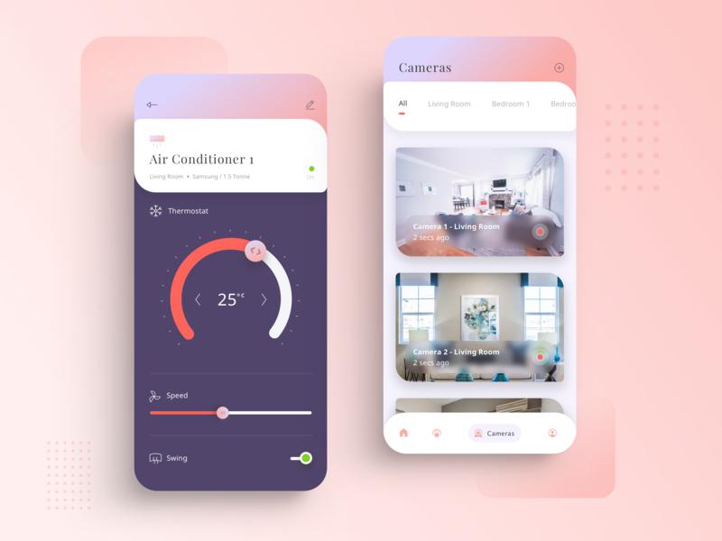 Smart Home 3 cards lifestyle home app smart app design ui kit mobile minimal ios clean ux ui