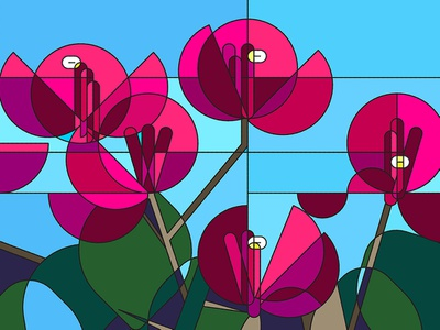 Bougainvillea Stained Glass flower vector stained glass nature illustration glass design fragment abstract