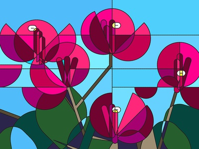 Bougainvillea Stained Glass