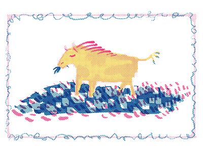 Horsecow Postcard print painting digital chomp eating farm pasture animal design card border dots risograph grass illustration postcard cow horse