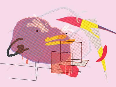 angry blbbr!! feeling anger print postcard painting organism emotion duck doodle digital collage card bluh blubber blob blah abstract illustration design