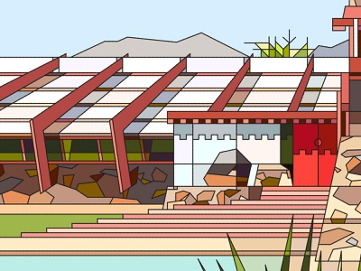 Taliesin West Stained Glass landscape architecture frank lloyd wright desert arizona vector nature glass stained glass digital window fragment illustration abstract design