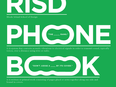 RISD Phone Book risd link stretched typeface typography reference dictionary definition phone directory green graphic design print cover book