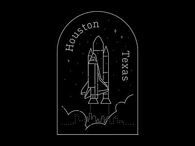 Houston Space dribbbleweeklywarmup badge monochrome night sky design illustration stars texas houston nasa space home city black monoline hometown community vector sticker