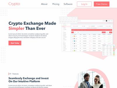 Crypto Currency Website Design illustration crypto exchange cryptocurrency ux vector website ui branding web design unique design design