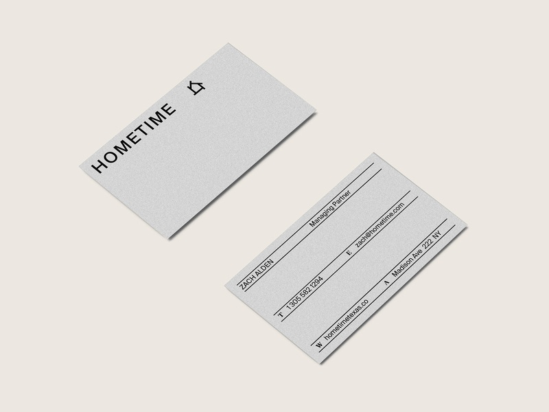 Hometime Business Cards art direction rebranding logo graphicdesigns minimal lines stationary construction branding design branding