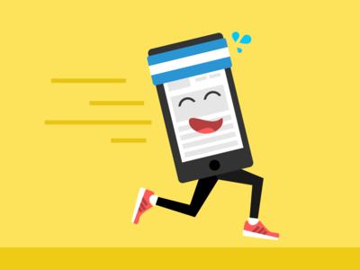 Running Phone sweat illustration speed phone running