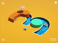 Digital swimming pool with 3