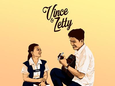 Vince & Zetty Wedding Illustration student guitar illustration vexel vector love prenup wedding
