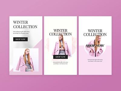 Social Media Ads pinterest ads instagram collection winter pink social media design sale facebook banner