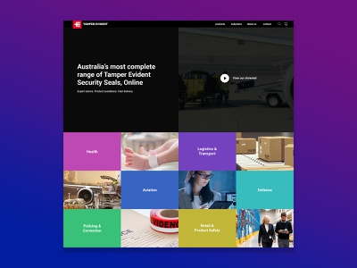 Tamper Evident Redesign grid colorful ux design ui design australia seal tamper evident web design