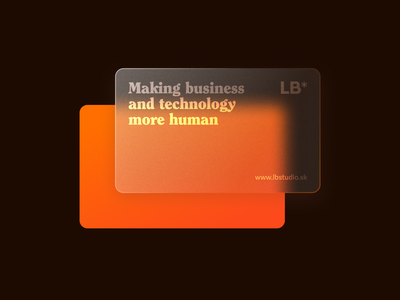 LB* Frosted Glass Card Design minimalism clean minimal ux figmadesign figma businesscarddesign card design businesscard glass card card frosted frosted glass orange transparency transparent glassmorphic glassmorphism glassy glass