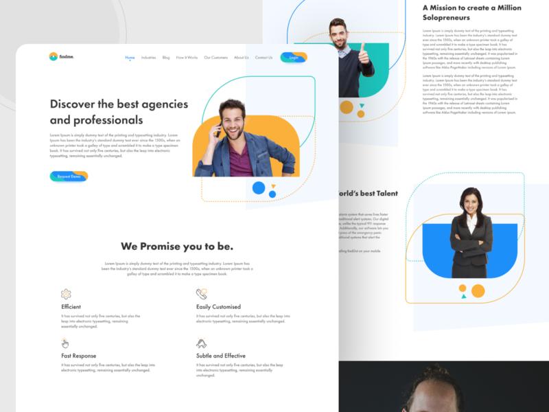 Findme. branding web illustration minimal ui design clean website concept trendy website design trendy website design webpage website design website