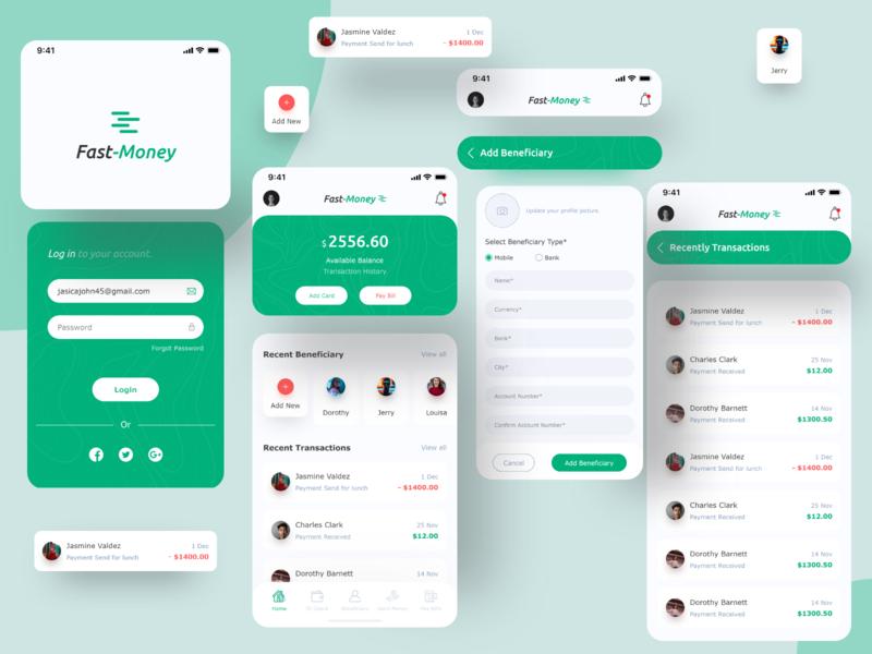 Fast-Money ( Banking App ) money app finance business clean branding finance ui design application trendy app app finance app baking app