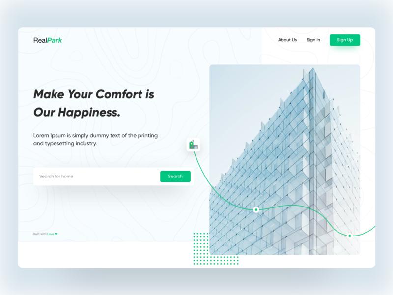 RealPark (Real Estate) typography type minimal icon illustration vector branding clean app design