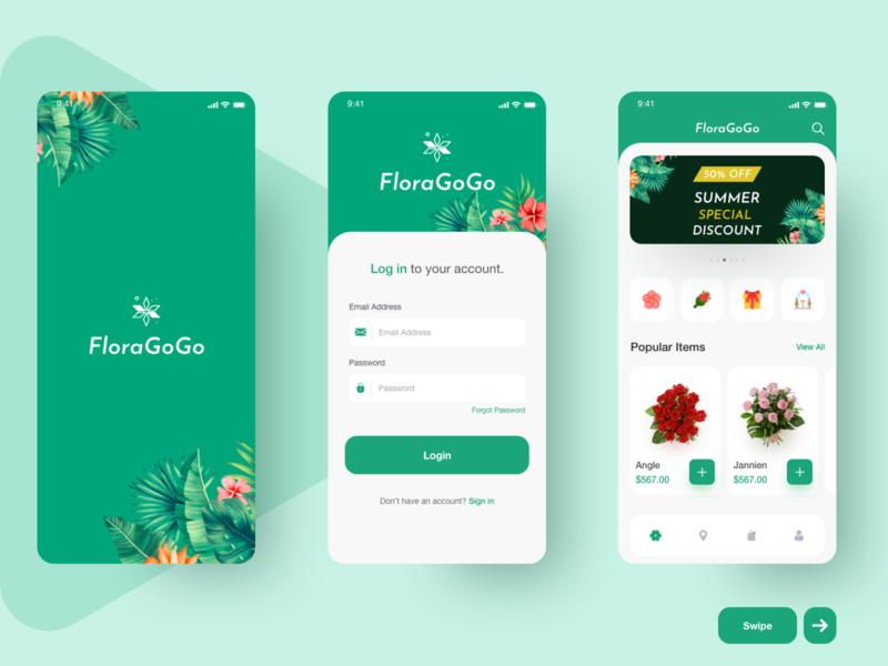 Flower app ui typography type minimal icon illustration vector branding clean app design