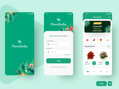 Flower app ui typography type minimal icon illustration vector branding clean app design