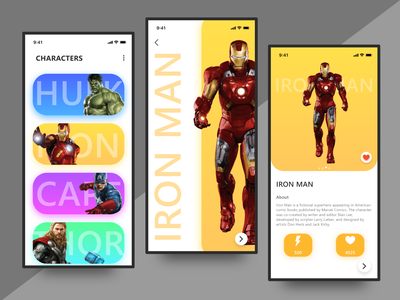 Game Character Detail Screens logo icons brand ux art minimal animation web typography ios illustrator icon clean app ui type illustration vector design branding