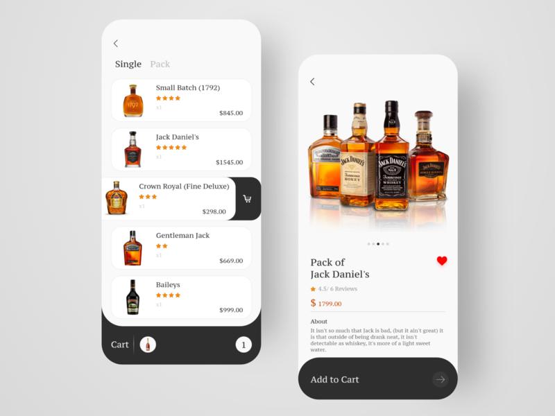 E-commerce App for Whisky Shop beer can beer beer app mobile flat icons ios web animation logo brand ui minimal illustrator illustration icon clean app branding design
