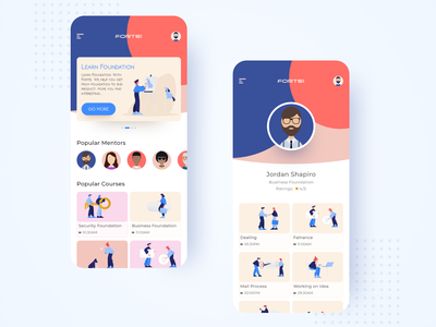 FORTEI (Education App) art flat icons ios animation web logo brand illustrator ui minimal typography type icon illustration clean app vector branding design