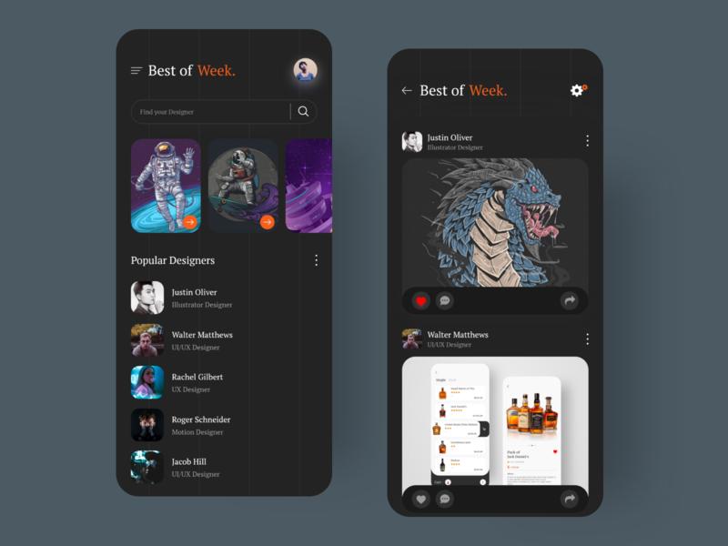 Design App (Dark mode) dark app dark ui user interface designs uiux ui typography minimal icon type illustration clean branding app vector design