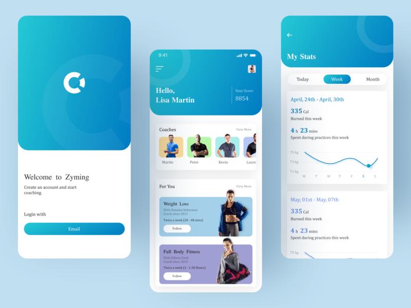 Gym App fitness application icon ui application ui designer fitness app gym gym app clean ui uidesign app design app