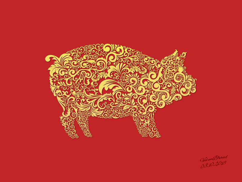 Year Of Pig By Vncom Dribbble Dribbble