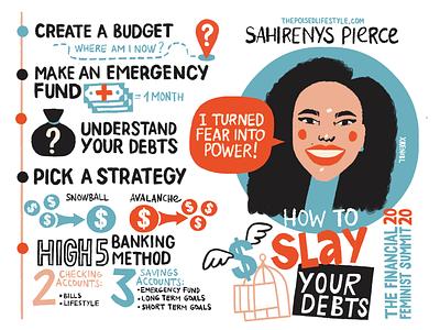 Sahirenys Pierce from The Financial Feminist Summit 2020 feminism drawing visual note-taking branding portrait illustration visual recording scribing sketching