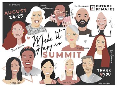 Make it Happen Summit portraits drawing portrait character design visual note-taking design branding visual recording scribing sketching illustration