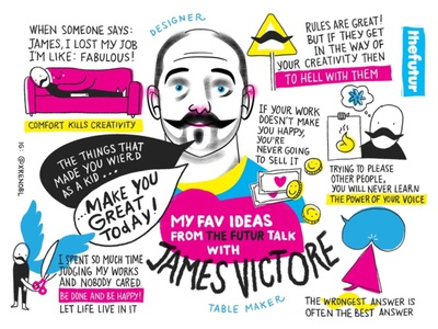 Visual notes from an interview of James Victore logo design branding sketching visual note-taking drawing visual recording portrait scribing illustration
