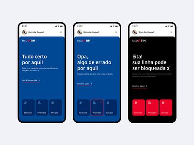 Third Challenge - Concept Design for TIM Mobile carrier app mobile tim meiuca design system shortcuts cards ux ui