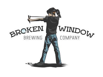 Broken Window Brewing Co. sling shot coonskin hat boy hop label craft brewery beer