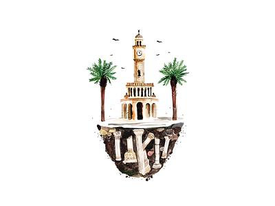 Izmir Clock Tower Illustration illustration challenge illustration agency clocktower clock illustration design illustration art illustration
