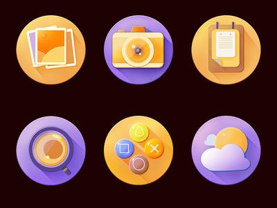 Icon design controllers glassgame magnifying cameranotepadweathera photothe