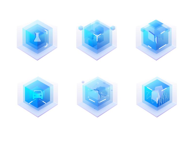 2.5d-2 blue design icon 3d