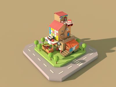 villages and towns&C4D house c4d 3d